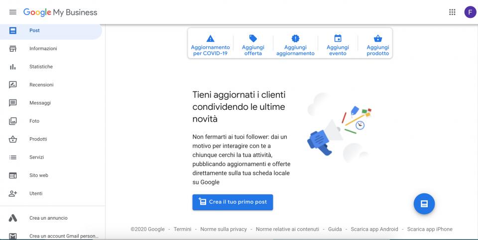 Il profilo Google My Business: creazione di un post